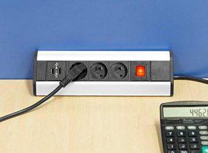 Elbe Prise d'Angle Cuisine 3 Prises Françaises 2 USB avec Interrupteur Prise pour plan de travail Bloc Multiprise mural pour Cuisine Bureau Salle de Réunion Chambre_EL4603KU-FR de la marque Elbe - Electronics image 0 produit