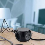 Electraline 35441 Mini Cube avec 3 Ports USB 2.4A, Bloc 3 Prises avec Interrupteur, Rallonge Multiprise 3M, Noir de la marque Electraline image 3 produit