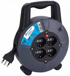 Electraline 49026Rallonge avec enrouleur de câble 10mt, 4prises à bulles + 10/16A–Fiche 16A Schuko, Section Câble 3G1,5mm² de la marque Electraline image 0 produit