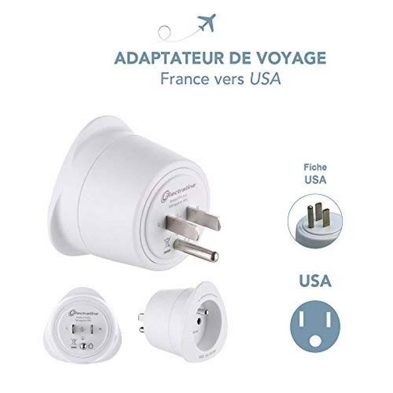 Electraline 70060 Adaptateur de voyage Australie//Chine vers France//Europe blanc