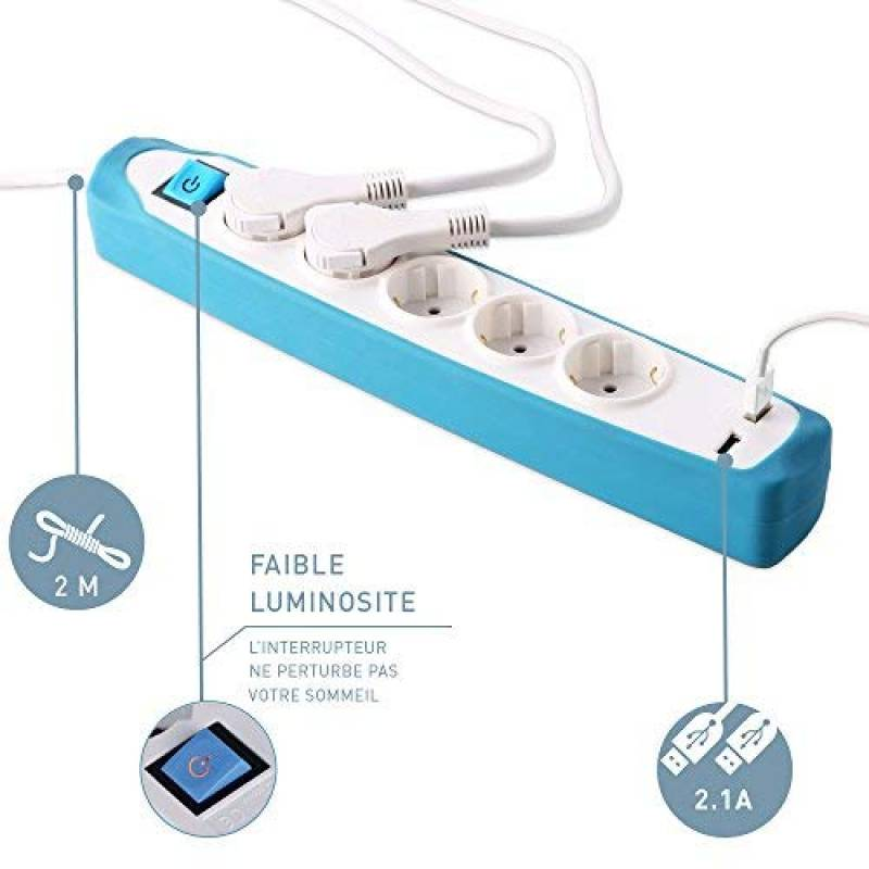 fiche plat couverture en silicone antid/érapant Electraline Gummy 35602 Bloc Multiprise 3 prises et 2 USB c/âble 2 mt