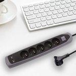 Electraline Gummy 35619 Bloc Multiprise 5 prises et 2 USB avec interrupteur - couverture en silicone antidérapant - câble 2 mt - fiche plat de la marque Electraline image 4 produit