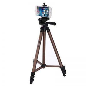 EMEBAY - 125 cm Trépied Universel + Adaptateur Support Smartphone; Trépied pour Vidéoprojecteur, LED Lampe Projecteur, Appareils Photo Numériques,Caméscopes, Caméra d'action/ DSLR et Smartphone, Trépied Projecteur, (Trépied pour iPad aussi,mais Adaptateur image 0 produit