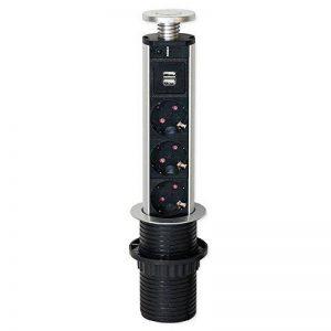 Emuca 5070125 Bloc multiprise d'alimentation escamotable avec triple prise Schuko 3500 W/double USB 5V DC de la marque Emuca image 0 produit