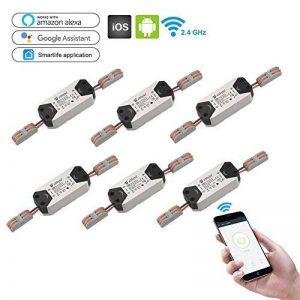 eMylo Smart WiFi 90-250V AC Sans Fil Interrupteur Télécommande Minuterie Télécommande Compatible avec Alexa Echo Google Home Voice control iPhone Android App 6 packs de la marque eMylo image 0 produit