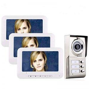 Ennio 17,8cm LCD 3Appartements Vidéo Porte Téléphone Interphone IR HD 1000tvl Camera Sonnette Camera avec 3Button 3Moniteur étanche de la marque ENNIO image 0 produit