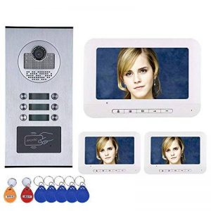 ENNIO 3 Interphone Vidéo / Famille Interphone Vidéo Système RFID IR-CUT HD 1000TVL Caméra Caméra Sonnette avec 6 Bouton 3 Moniteur Étanche de la marque ENNIO image 0 produit