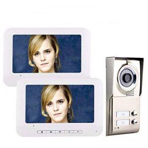 ENNIO 7 pouces LCD 2 Appartements Vidéo Interphone Système de Interphone IR-CUT HD 1000TVL Caméra Sonnette Caméra avec 2 Bouton 2 Moniteur Étanche de la marque ENNIO image 0 produit