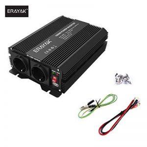 ERAYAK 1000W Convertisseur Transformateur de DC 12V à AC 230V/240V, TUV Certifié, Puissance Pic 2000W, 2.1A Port USB, Deux Ports de Charge Parfait pour Ordinateur, Réfrigérateur, TV, Ventilateur, Perceuse, Console de Jeux etc. de la marque ERAYAK image 0 produit
