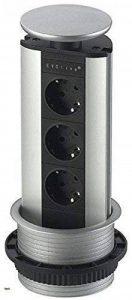 Multiprise escamotable encastrable BackFlip standard 2 prises Schuko 1 USB EVOline