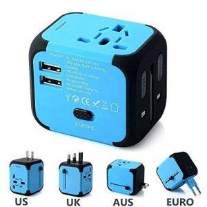 FEIGO Adaptateur de Voyage Universel, Adaptateur Prise de Courant International UE US UK AUS, Mini Adaptateur de Chargeur avec 2 Ports USB pour Plus de 150 Pays - Bleu de la marque FEIGO image 0 produit