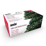 Feux de grappe 480 LED lumières féeriques (6 m/20 ft de longueur allumée) multi-action conduites câble vert-intérieur et extérieur-blanc chaud 480 LED de la marque ANSIO image 1 produit