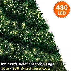 Feux de grappe 480 LED lumières féeriques (6 m/20 ft de longueur allumée) multi-action conduites câble vert-intérieur et extérieur-blanc chaud 480 LED de la marque ANSIO image 0 produit