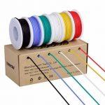 Fil de calibre 24, fil électrique Kit Fil de silicone souple 24 AWG (6 bobines de couleur différentes de 9 mètres) Résistance à haute température de fil de raccordement 300V de la marque TUOFENG image 1 produit