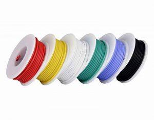 Fil de calibre 24, fil électrique Kit Fil de silicone souple 24 AWG (6 bobines de couleur différentes de 9 mètres) Résistance à haute température de fil de raccordement 300V de la marque TUOFENG image 0 produit