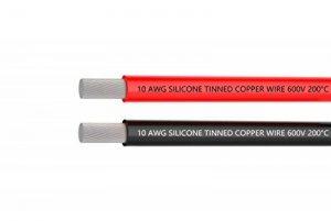 Fil électrique 10 AWG Calibre 10 Branchez Fil Silicone câble 3 m [1.5 m Noir et rouge 1.5 m] souple et flexible 1050 brins 0,08 mm de fil de cuivre étamé haute résistance à la température de la marque TUOFENG image 0 produit