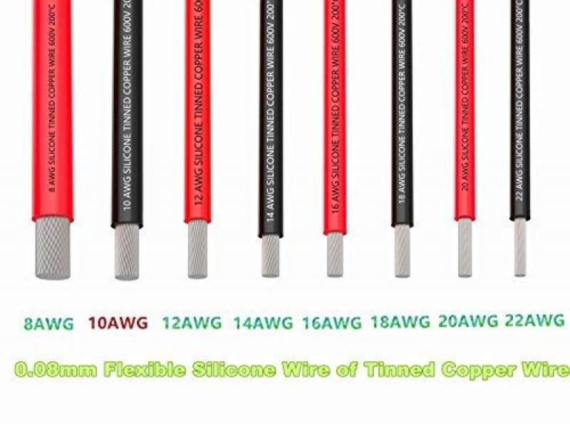 kit de fils de cuivre /étam/é Fil de silicone flexible de 22 AWG Fil de connexion /électronique de 600V Fil /électrique de calibre 22 6 bobines de couleur diff/érentes de 8 m/ètres
