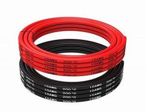 Fil électrique 10 AWG Calibre 10 Coque en silicone Branchez Fil câble [3 m Noir et rouge 3 m] souple et flexible 1050 brins 0,08 mm de fil de cuivre étamé haute résistance à la température de la marque TUOFENG image 0 produit