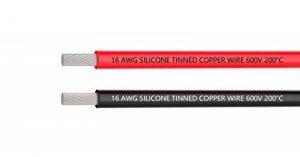 Fil électrique 16 AWG Calibre 16 Branchez Fil Silicone câble [3 m Noir et rouge 3 m] - Souple et flexible 252 mèches 0,08 mm de fil de cuivre étamé haute résistance à la température de la marque TUOFENG image 0 produit