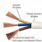 Fil électrique/3Core ronde PVC Blanc secteur électrique Fil de cuivre de câble haute résistance à la température câble d'alimentation 3x 0,75mm² Twin et câble de terre–5metre Longueur de coupe Flexible Bassin câble, Blanc de la marque LumenTY image 2 produit