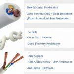 Fil électrique/3Core ronde PVC Blanc secteur électrique Fil de cuivre de câble haute résistance à la température câble d'alimentation 3x 0,75mm² Twin et câble de terre–5metre Longueur de coupe Flexible Bassin câble, Blanc de la marque LumenTY image 3 produit