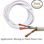 Fil électrique/3Core ronde PVC Blanc secteur électrique Fil de cuivre de câble haute résistance à la température câble d'alimentation 3x 0,75mm² Twin et câble de terre–5metre Longueur de coupe Flexible Bassin câble, Blanc de la marque LumenTY image 1 produit