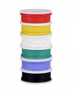 Fil électrique de 26 AWG, fil de silicone flexible de kit de fil de crochet (6 bobines différentes de 10 mètres colorées) résistance à hautes températures de fil de 300V de la marque TUOFENG image 0 produit