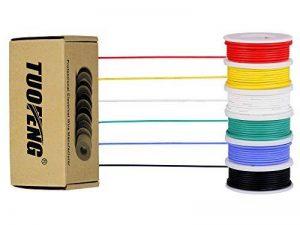 Fil électrique de calibre 30, kit de fils colorés Fil de silicone flexible 30 AWG (6 bobines de 20 mètres de couleur différente) Fil électronique 60V de la marque TUOFENG image 0 produit