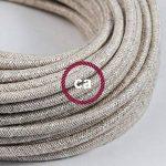 Fil Électrique Rond Gaine De Lin De Couleur Naturel Neutre RN01 - 5 mètres, 2x0.75 de la marque Creative-Cables image 2 produit