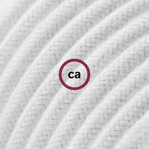 Fil Électrique Rond Gaine De Tissu De Couleur Coton Tissu Uni Blanc RC01 - 5 mètres, 2x0.75 de la marque Creative-Cables image 0 produit