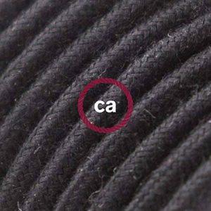 Fil Électrique Rond Gaine De Tissu De Couleur Coton Tissu Uni Noir RC04 - 5 mètres, 2x0.75 de la marque Creative-Cables image 0 produit
