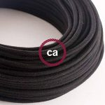 Fil Électrique Rond Gaine De Tissu De Couleur Coton Tissu Uni Noir RC04 - 5 mètres, 2x0.75 de la marque Creative-Cables image 2 produit