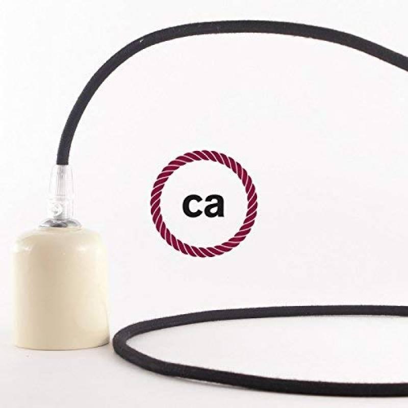 C/âble textile pour lampe Plastique C/âble 2/brins 2/x 0,75/mm/² Fabriqu/é en Italie /Coton Noire /