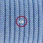 Fil Électrique Rond Gaine De Tissu De Couleur Coton ZigZag Bleu Steward et lin Naturel RD75 - 3 mètres, 2x0.75 de la marque Creative-Cables image 1 produit