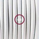 Fil Électrique Rond Gaine De Tissu De Couleur Effet Soie Tissu Uni Blanc RM01 - 10 mètres, 2x0.75 de la marque Creative-Cables image 1 produit