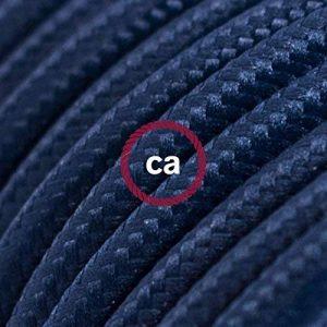 Fil Électrique Rond Gaine De Tissu De Couleur Effet Soie Tissu Uni Bleu Marine RM20 - 10 mètres, 2x0.75 de la marque Creative-Cables image 0 produit