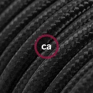 Fil Électrique Rond Gaine De Tissu De Couleur Effet Soie Tissu Uni Noir RM04 - 10 mètres, 2x0.75 de la marque Creative-Cables image 0 produit