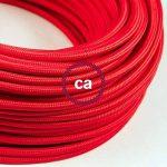 Fil Électrique Rond Gaine De Tissu De Couleur Effet Soie Tissu Uni Rouge RM09 - 5 mètres, 2x0.75 de la marque Creative-Cables image 2 produit