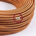 Fil Électrique Rond Gaine De Tissu De Couleur Effet Soie Tissu Uni Whiskey RM22 - 5 mètres, 2x0.75 de la marque Creative-Cables image 2 produit