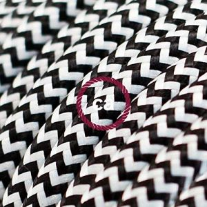 Fil Électrique Rond Gaine De Tissu De Couleur Effet Soie ZigZag Noir RZ04 - 3 mètres, 2x0.75 de la marque Creative-Cables image 0 produit