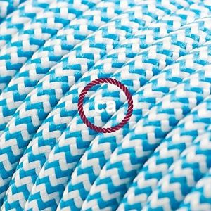 Fil Électrique Rond Gaine De Tissu De Couleur Effet Soie ZigZag Turquoise RZ11 - 3 mètres, 3x0.75 de la marque Creative-Cables image 0 produit