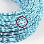 Fil Électrique Rond Gaine De Tissu De Couleur Effet Soie ZigZag Turquoise RZ11 - 3 mètres, 3x0.75 de la marque Creative-Cables image 2 produit