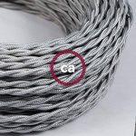 Fil Électrique Torsadé Gaine De Tissu De Couleur Effet Soie Tissu Uni Argent TM02 - 3 mètres, 2x0.75 de la marque Creative-Cables image 2 produit
