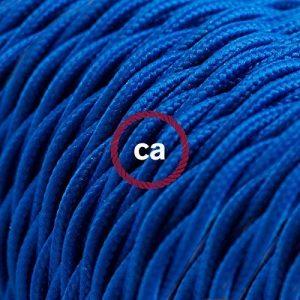 Fil Électrique Torsadé Gaine De Tissu De Couleur Effet Soie Tissu Uni Bleu TM12 - 5 mètres, 2x0.75 de la marque Creative-Cables image 0 produit