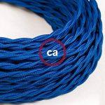 Fil Électrique Torsadé Gaine De Tissu De Couleur Effet Soie Tissu Uni Bleu TM12 - 5 mètres, 2x0.75 de la marque Creative-Cables image 2 produit