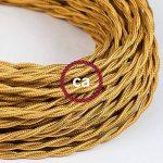 Fil Électrique Torsadé Gaine De Tissu De Couleur Effet Soie Tissu Uni Or TM05 - 3 mètres, 2x0.75 de la marque Creative-Cables image 2 produit