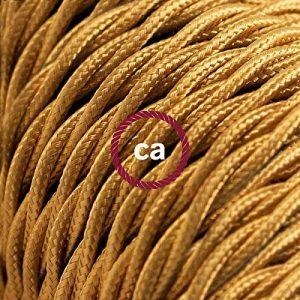 Fil Électrique Torsadé Gaine De Tissu De Couleur Effet Soie Tissu Uni Or TM05 - 5 mètres, 2x0.75 de la marque Creative-Cables image 0 produit