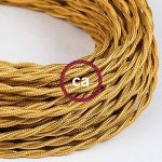 Fil Électrique Torsadé Gaine De Tissu De Couleur Effet Soie Tissu Uni Or TM05 - 5 mètres, 2x0.75 de la marque Creative-Cables image 2 produit