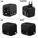 FLOUREON Adaptateur Secteur de Voyage avec Fusible de Sécurité et 2 Chargeurs USB 2.4A Tout-en-Un s'adapte aux Prises de Courants AC Murales aux EU/US /UK/AUS pour Plus de 150 Pays - Noir de la marque FLOUREON image 4 produit