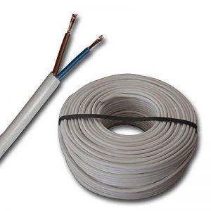 Gaine en plastique rond LED, câble conducteur câble pour dispositif H03VV-F 2x 0,75mm² (mm2)–Couleur: blanc 10m/15/20/25m/30m/35m/45M/40m/50m/55m/60M etc. jusqu'à 250m en 5étapes de M au choix de la marque EBROM image 0 produit